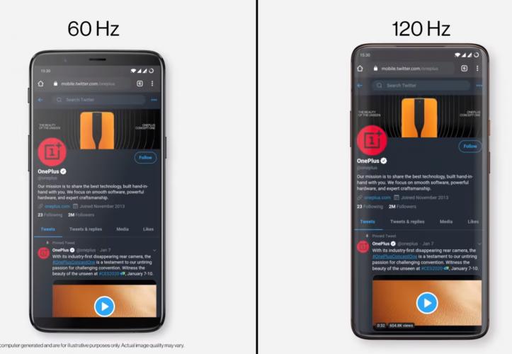 Fluid Display: OnePlus zeigt den Unterschied zwischen 60- und 120-Hz-Displays
